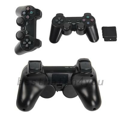 2pcs Black Wireless Shock Game Controller for Sony PS2 AU Local Post