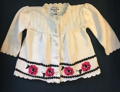 Hartstrings Baby Sweater 6 9 Months Baby Girl White With Flowers