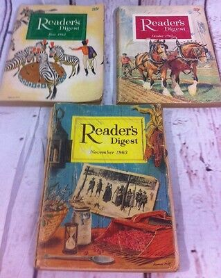 VINTAGE READERS DIGEST MAGAZINE 1963 June Oct Nov Lot Of 3 Issues