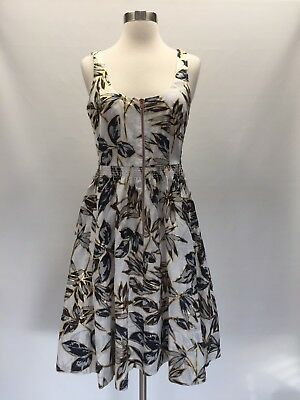 9d0e1463b7d J Crew Linen Zip-Front Dress Gold Foil Leaf Print Size 4 Sleeveless C4625  New