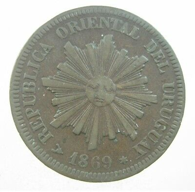 Uruguay 2 Centesimos 1869 Sunface 44# World Money Coin