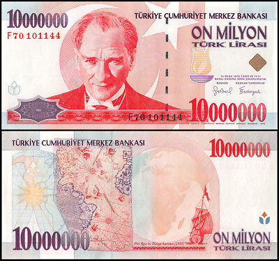 Turkey 10 Million Lira Banknote, 1999, P-214, UNC