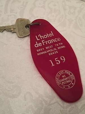 Vintage Hotel Key Fob L' Hotel De France 5601 West 78th Minneapolis Minnesota