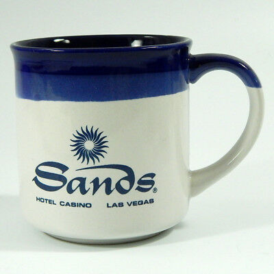 Sands Hotel Casino Las Vegas Vintage Souvenir Coffee Mug Blue White