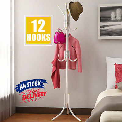 3 Tier Coat Hanger Stand 9 Hook Hat Clothes Bag Rack Metal Tree Style Storage