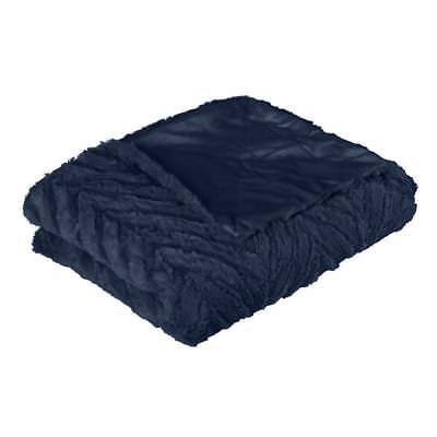 OTTAWA PLUSH THROW INDIGO Blue Navy Mink Blankets Sofa Rugs Bedding