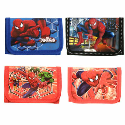 New Cute Spiderman Boys Wallet Trifold Zip Coin Purse Kids Cartoon Party Pouch