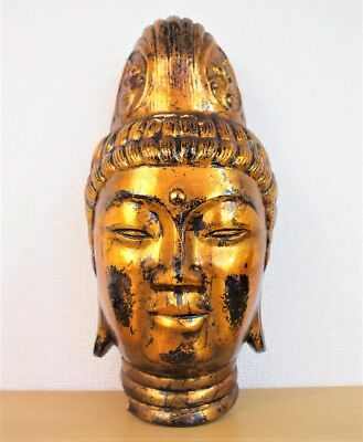"""JAPANESE VINTAGE MASK """"KANNON"""" """"GODDESS OF MERCY"""" NOH KYOGEN LACQUER no.0324-2"""