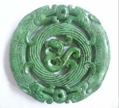 2018 Chinese Old Handwork Carve Green Jade Dragon Pendant Statuary