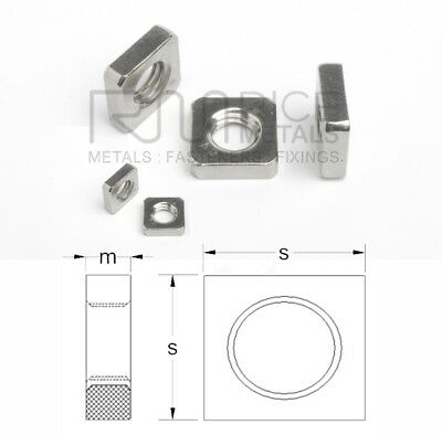 Square Nuts Metric A2 & A4 Stainless Steel Din 562 Sizes M2 up to M10