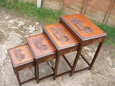 Four Vintage Antique Wooden Hand Carved Chinese Oriental Japanese Nest of Tables