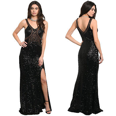 DAMEN ABENDKLEID BALL Cocktail Gala Abiball Kleid Pailletten Kleid ...