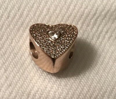 a6ca3adc9 SWEETHEART Genuine PANDORA Rose GOLD Plated CLEAR CZ Love HEART Charm/Bead