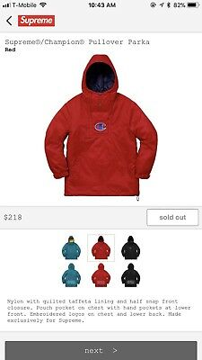 1bca5231c3ae SS18 SUPREME X Champion Pullover Parka - Small Confirmed Week 5 Red ...