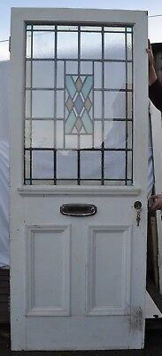 British leaded light stained glass door SECONDARY GLAZED & KEYS. R678. DELIVERY!