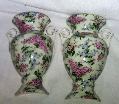 VINTAGE Pair  WALL POCKET Porcelain Floral GREAT COLOR Beautifull !