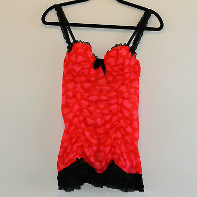 La Senza Lingerie - Size M Red with Pink Hearts Babydoll - EUC
