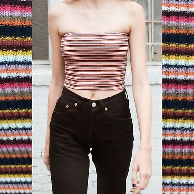 efd7f49a1c7 Brandy melville pink Yellow Striped Stretchy Cotton Cropped Jenny Tube Top  NWT