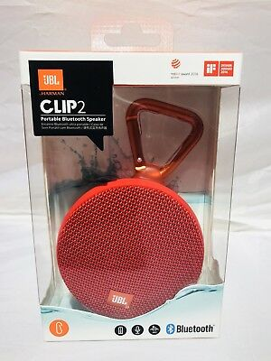 JBL Clip 2 Waterproof Wireless Bluetooth Speaker-Red Model : JBLCLIP2REDAM