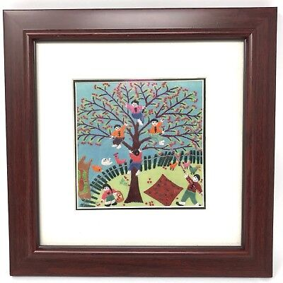 Vintage Finished Needlepoint Apple Picking Tree Picnic Children Birds Embroidery