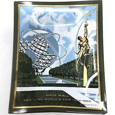 Vtg 1965 New York World's Fair Souvenir Glass Tray Main Mall Houze Art PA, USA
