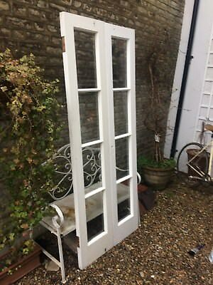 Original Victorian French Double Patio Exterior Doors Solid Wood