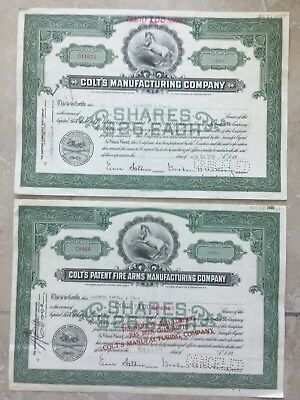 2 USA COLTS MANUFACTURING COMPANY stock certificate FAMOUS FIREARMS