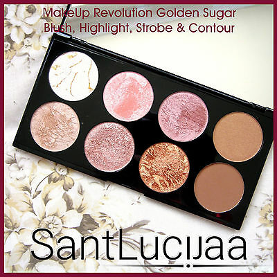 Makeup Revolution Blusher Palette Contouring Highlighter Golden Sugar Strobe