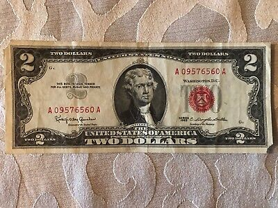 1963 Series Two Dollar Bill $2 Red Seal