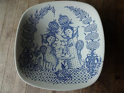 Vintage Nymolle Dish, Denmark, Scandinavian Pottery, Tea for Two, Square