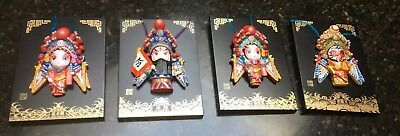 Chinese Set of 4 Hand Painted Clay Face Mask w/ Frame Desk or wall Hanging Decor