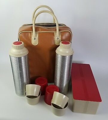 Vintage Thermos Picnic Set 2 Vacuum Bottles 4 Cups Box and Tote Bag Lunch