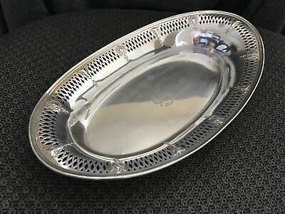 "Antique Vintage Sterling Silver 11"" Pierced Oval Dish Bread Bowl Monogrammed"