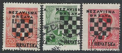CROATIA/NDH/KROATIEN, 2nd Provisionals, 3 used stamps with OVERPRINT ERRORS