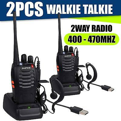 2X Baofeng BF-888S+2*Headset UHF CTCSS/DCS/VOX Hand-Funkgerät Walkie-Talkie 2TLG