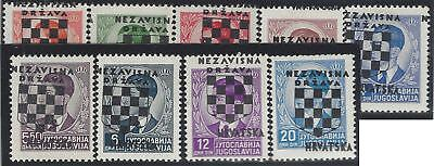 CROATIA/NDH/KROATIEN, 2nd Provisionals, 9 mint* stamps with OVERPRINT SHIFTED