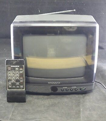 "Vtg 1990s Magnavox Portable 11"" CRT Color TV w Remote"
