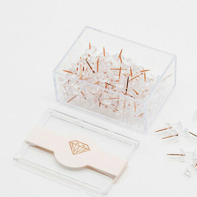 NEVER Rose Gold Thumbtacks Creative Lucency Push Pins for Memo Board or Cor P5Y8