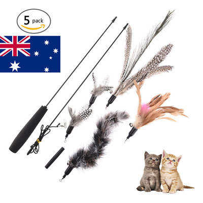 AU! Kitten Play Teaser Cat Wand +5 Replacement Head Interactive Feather Play Toy