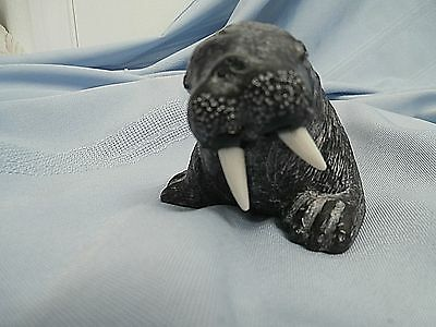 Original Collectible Walrus Hand Made Soapstone Wolf Signed Canada WEGold Label