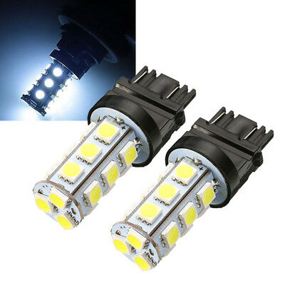 2X T25 3157 5050 18SMD LED Reverse Backup Tail Light Turn Signal Bulb Cool White