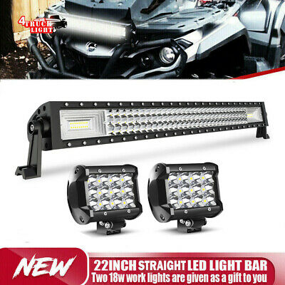 Can Am Outlander 800XT MAX ATV 22inch CURVED LED Light Bar Combo+Wiring KIT 20""