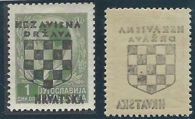 CROATIA/NDH/KROATIEN, 2nd Provisionals, 1D green, fine mint with OFFSET OF OVPT