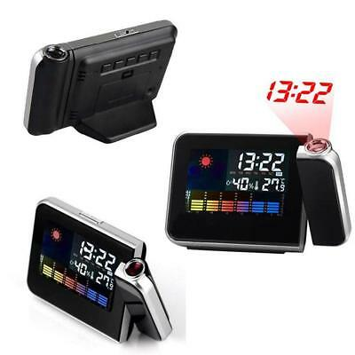 Projection LCD Digital Snooze Time Alarm Clock Projector Weather Station LED
