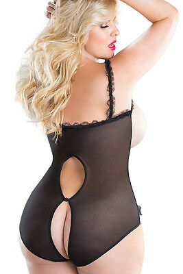 Sexy Women Lingerie Babydoll Underwear Open Bust Bodystocking Fishnet New