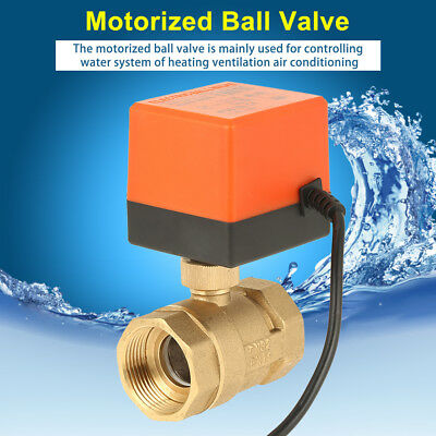 Motorized Ball Valve Brass G1-1/4 DN32 2-Way 3-Wire 2-Point  Electrical Valve