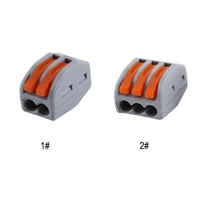 20×Spring Lever Terminal Block Electric Cable Wire Connector 2 3  Reusable