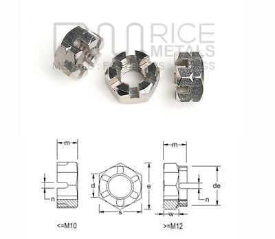 Hexagon Castle Nuts Thin Type Din 937 A2 & A4 Stainless Steel Sizes M6 to M30