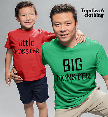 Big Monster Little Monster Father Dad Son Daddy Daughter Family Matching T shirt