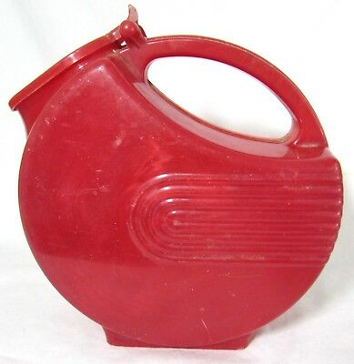 Vtg 1950s Marble Red Burrite Art Deco Water Pitcher Hinged Lid Lustro Ware USA